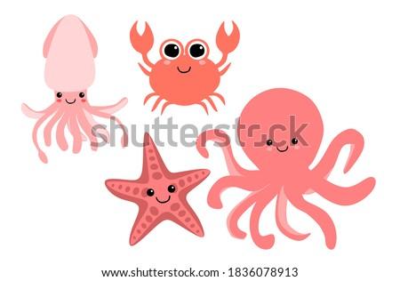Sea creatures ilustration. Crab, octopus, squid, and starfish