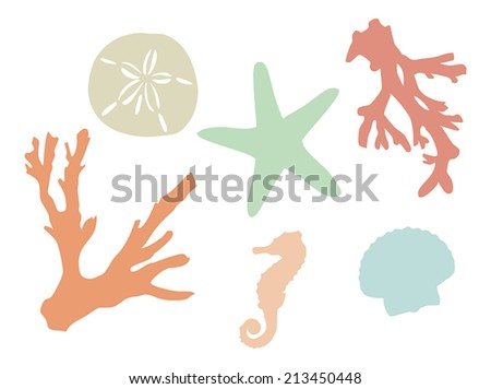 sea creatures, shells, and coral