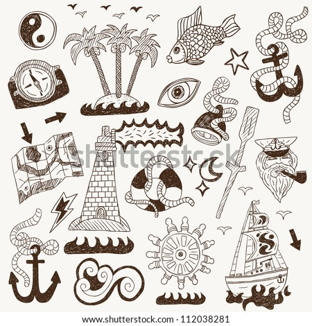 sea - doodles collection ( set icons in sketch style )