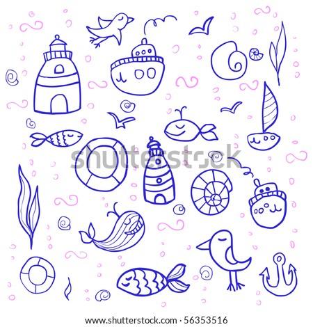 sea doodles in cartoon style