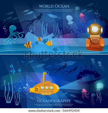 Stock Photo Sea exploration banner. Oceanography concept scientific research of sea and ocean, yellow submarine underwater with periscope
