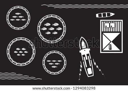 Sea fish farm from above - vector illustration