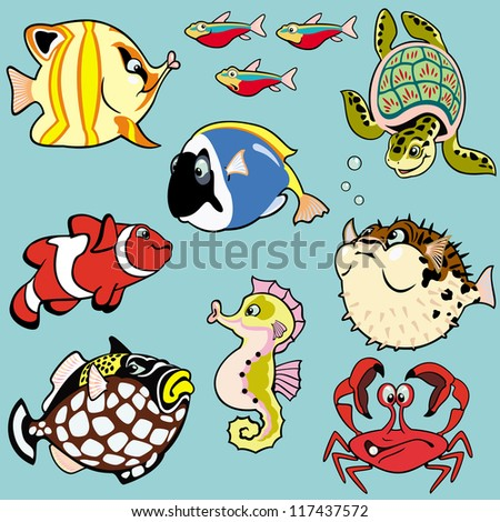 sea fishes and animals,set with cartoon pictures,children illustration,vector images isolated on blue background