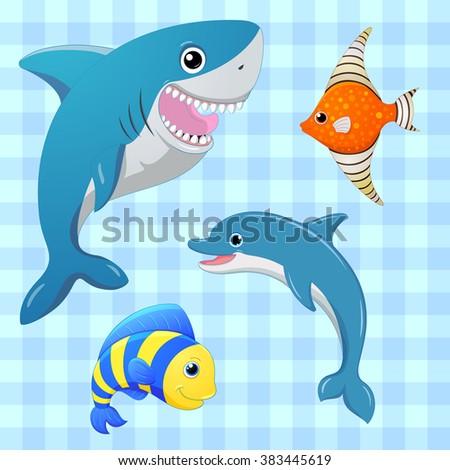 sea fishes set cartoon cute