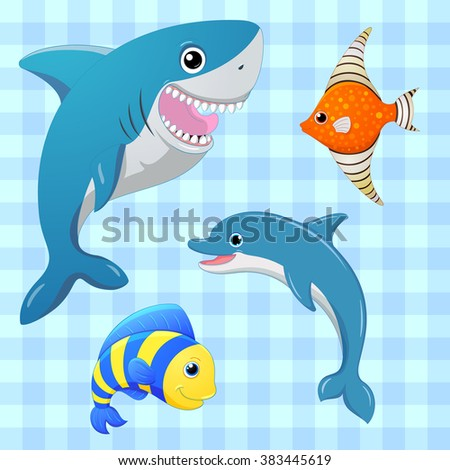 sea fishes set cartoon cute