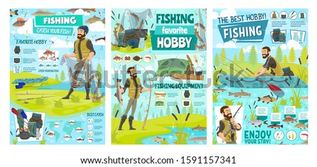 Sea fishing sport and big fish catch hobby, fisher tackles, lures and equipment infographics. Vector fisherman in rubber boat at river with rod, fisherman camping tent and seafood baits ストックフォト ©