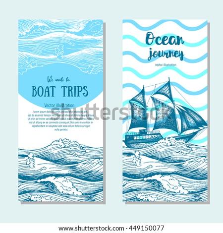 sea flyer set vector vertical