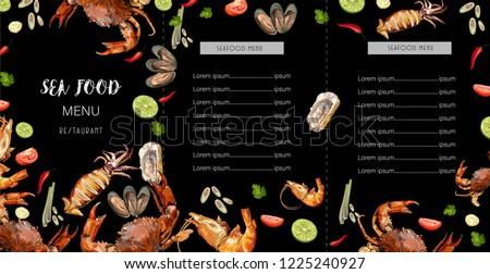 Sea food menu on black background