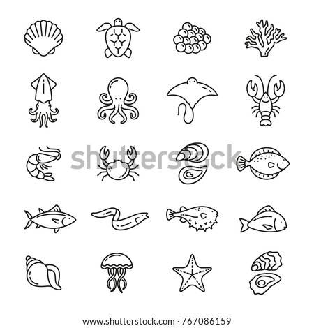Sea food related icons: thin vector icon set, black and white kit