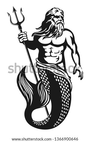 Sea God Poseidon Neptune suitable for icons, logos, prints, stickers and more
