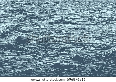 Sea. Hand drawn engraving. Vector vintage illustration. Isolated on color background. 8 EPS