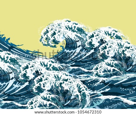 Sea high waves. Hand drawn vector illustration, imitation of oil painting.