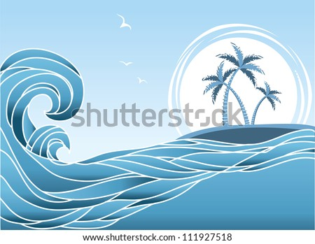 sea horizon with tropical