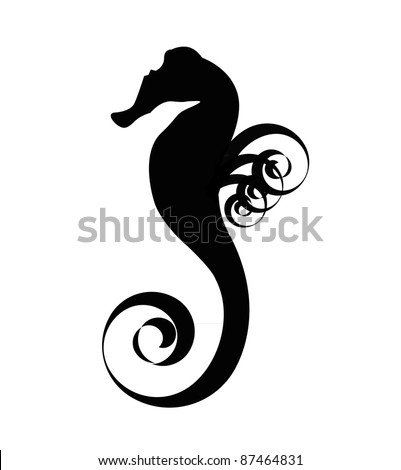 sea horse black silhouette