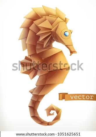 sea horse 3d vector icon