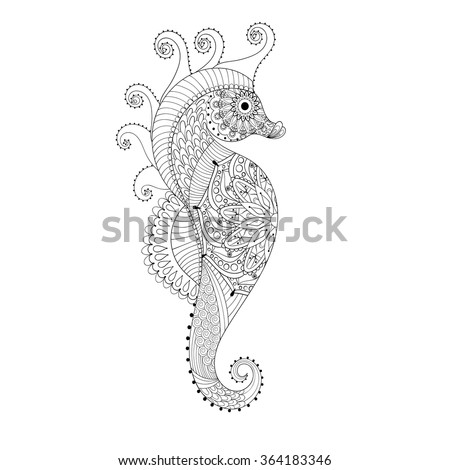 sea horse hand drawn sea horse