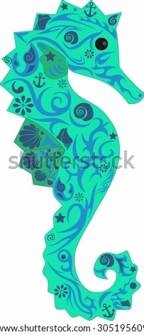 Sea horse vertically, a deep-water animal, an animal with drawing, an illustration of a sea horse, fish with a pattern on a body, cockleshells along a trunk, a sea horse with flowers