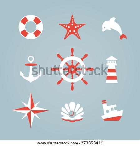 Sea icon collection isolated on a blue background. Vector illustration
