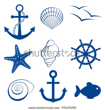 Sea icon set  anchor, shell, bird, starfish, wheel - stock vector