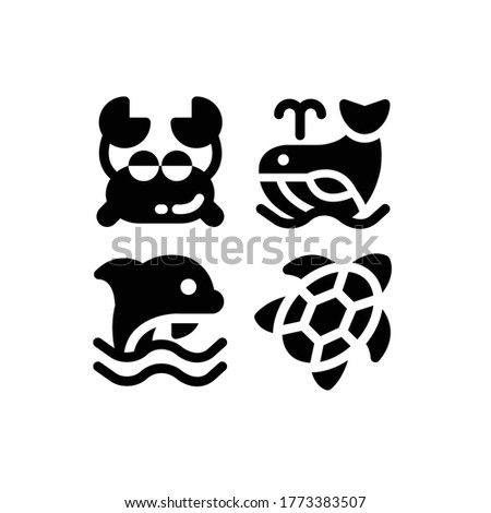 Sea icon set with Crab, Whale, Dolphin And Turtle, Vector Illustrations.