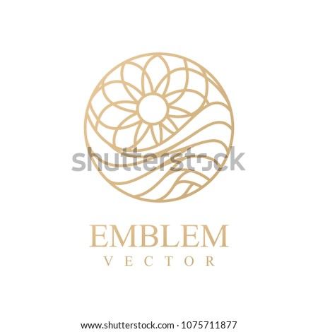 Sea icon.Wave logo. Circle, water, eco, ecology, tourism, icon. River, spiral, sun, nature, emblem. Nature logo. Outline water sign.