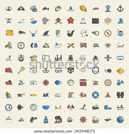 sea icons set. sea icons flat....