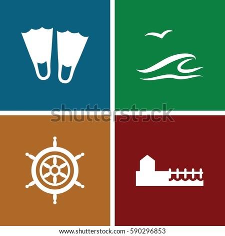 sea icons set set of 4 sea