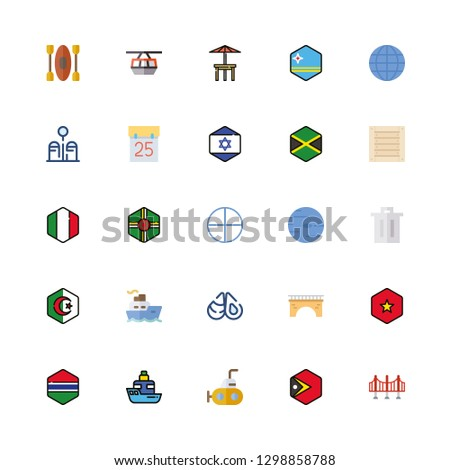 sea icons set with vietnam and