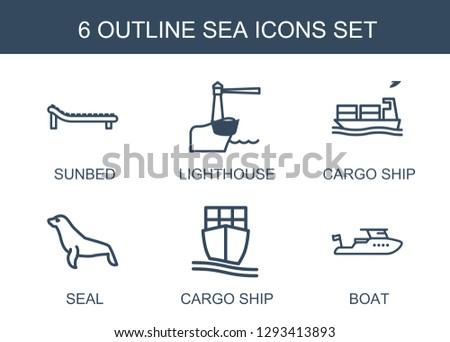 sea icons trendy 6 sea icons