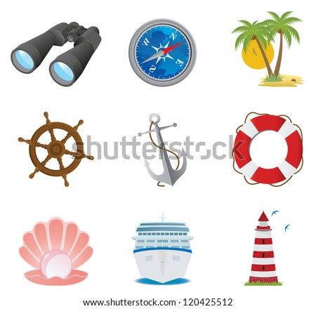 Sea icons. Vector set