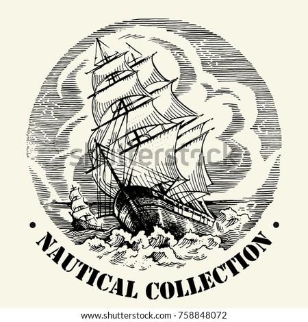 sea illustration made in retro...