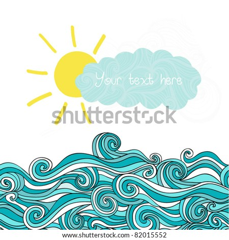 sea illustration with sun and...