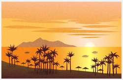Sea landscape at sunset with palm trees, island, boats. Vector illustration background with grainy texture.