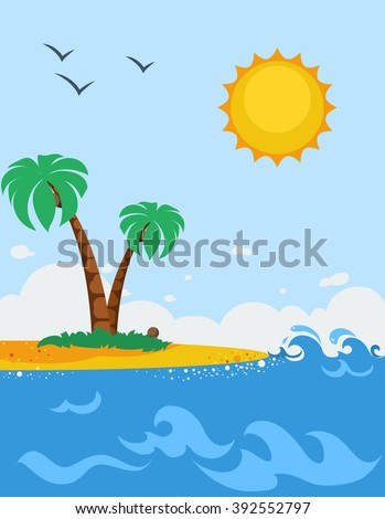 sea landscape cartoon poster