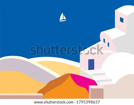 Sea landscape of the island of Santorini or Greece in flat style. White sailboat in blue sea, white houses, pink flowers, blue door. Vector graphics. EPS 10 ストックフォト ©