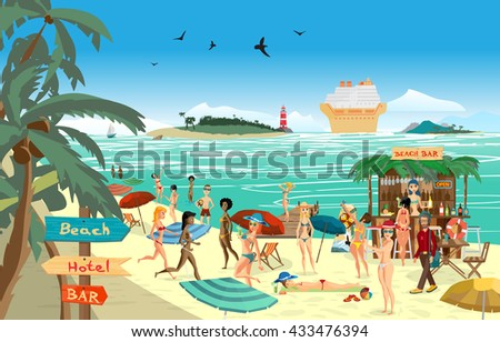Sea landscape summer beach. Vector cartoon flat illustration. Beach bar with bartender, a woman in a bikini to swim and sunbathe, play sports. Cruise ship, island and lighthouse