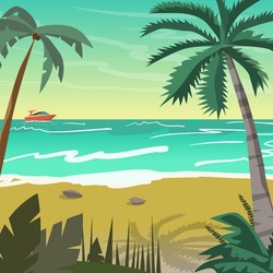 Sea landscape summer beach with palms, boat, horizon at sunset. Vector flat illustration