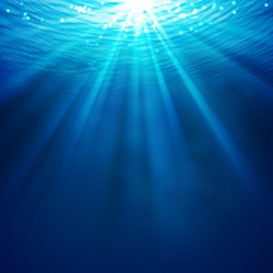 Sea landscape underwater space, vector - Abstract underwater background with sunlight