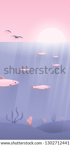 sea landscape underwater sunset