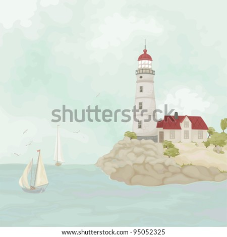 Sea landscape with a beacon, house, sailing vessels and seagulls
