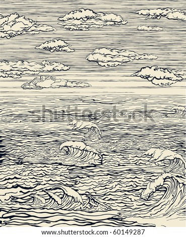 sea landscape with cloudy sky....