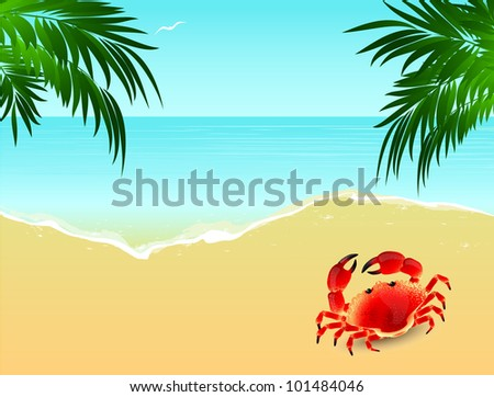 Sea landscape with crab and palm