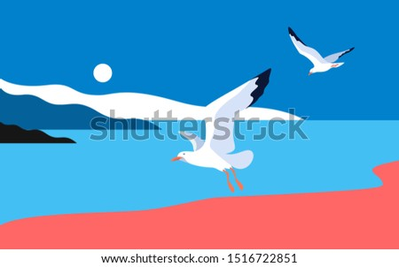 Sea landscape with gulls. Sea coast, noon, sky, sun, flaying seagulls. Vector illustration