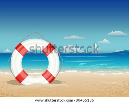 sea landscape with lifebuoy