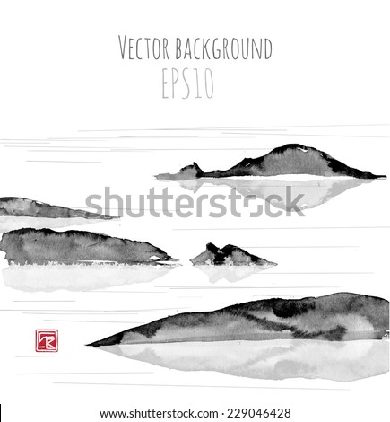 sea landscape with mountains