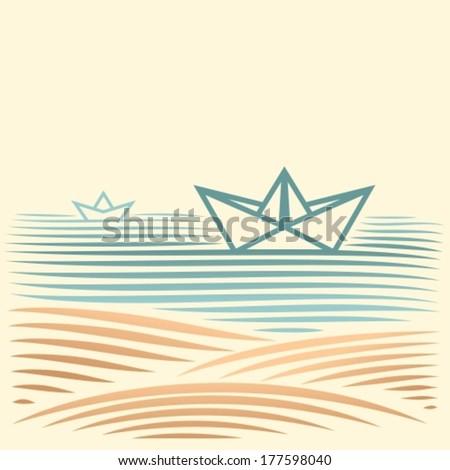 sea landscape with paper ship