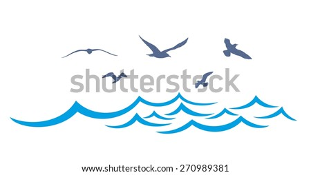 sea landscape with seagulls