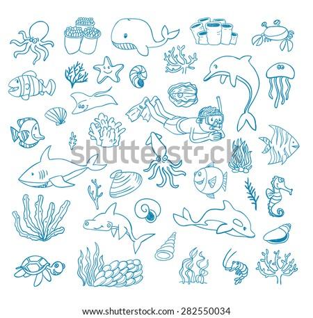 sea life cartoon doodle  vector