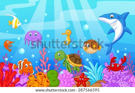 sea life cartoon with fish