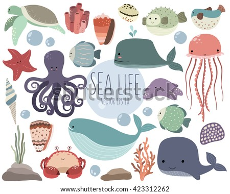 sea life cute vector set